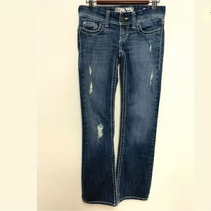 BKE Stella Flare Jeans Destroyed Thick Stitching